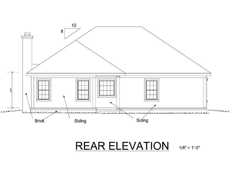 Bungalow, Cottage, Craftsman House Plan 66466 with 4 Beds, 2 Baths, 2 Car Garage Rear Elevation