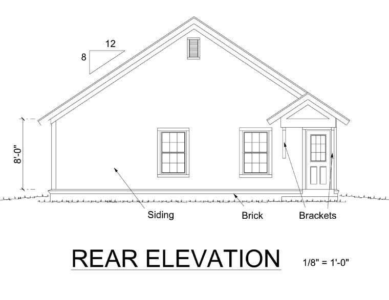 Bungalow, Craftsman, Traditional House Plan 66468 with 3 Beds, 2 Baths Rear Elevation