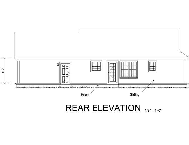Ranch, Traditional House Plan 66492 with 2 Beds, 2 Baths, 2 Car Garage Rear Elevation