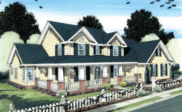 Country, Farmhouse, Traditional House Plan 66505 with 4 Beds, 4 Baths, 3 Car Garage Elevation