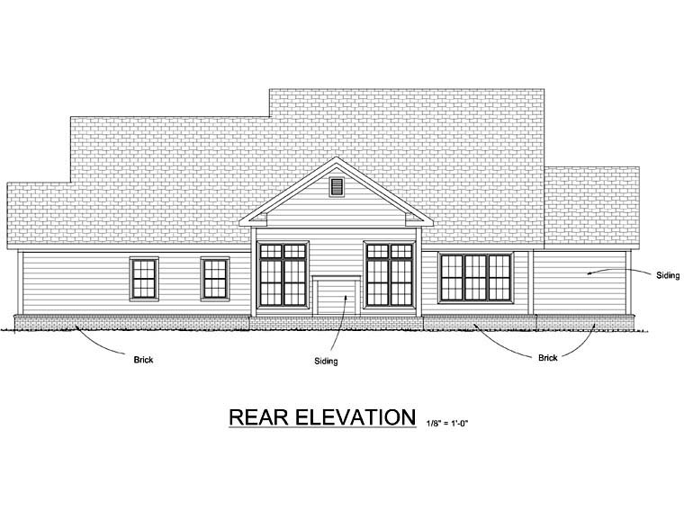 Country, Farmhouse, Traditional House Plan 66505 with 4 Beds, 4 Baths, 3 Car Garage Rear Elevation