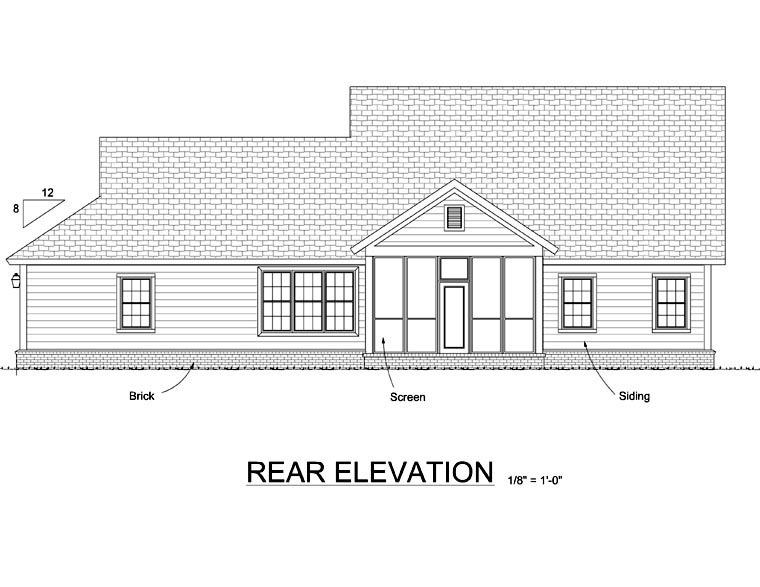 Craftsman, Traditional House Plan 66518 with 4 Beds, 4 Baths, 3 Car Garage Rear Elevation
