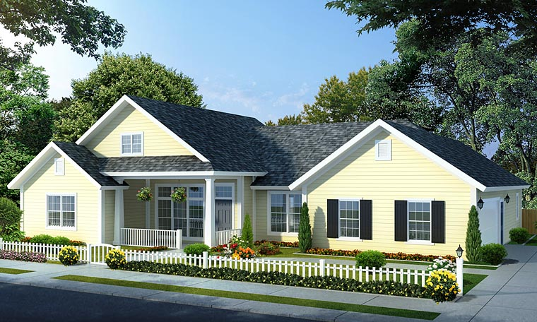 Traditional House Plan 66534 with 4 Beds, 3 Baths, 2 Car Garage Front Elevation