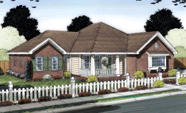 Traditional House Plan 66544 with 4 Beds, 3 Baths, 2 Car Garage Elevation