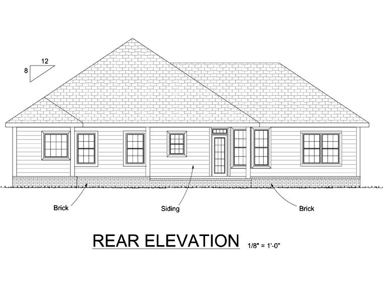 Traditional House Plan 66544 with 4 Beds, 3 Baths, 2 Car Garage Rear Elevation
