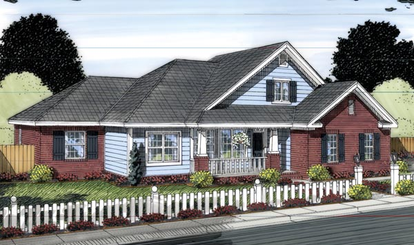Traditional House Plan 66545 with 4 Beds, 3 Baths, 3 Car Garage Elevation