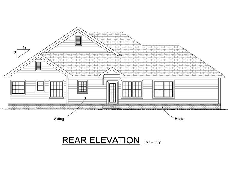 Traditional House Plan 66545 with 4 Beds, 3 Baths, 3 Car Garage Rear Elevation