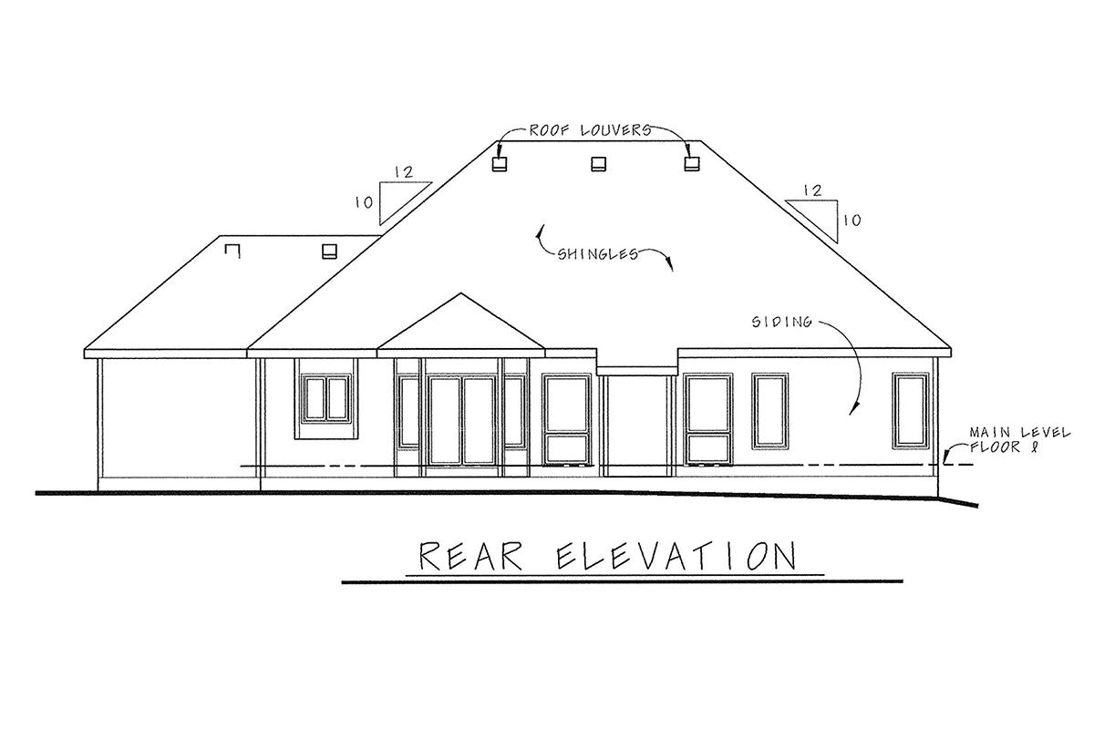 European House Plan 66600 with 3 Beds, 3 Baths, 3 Car Garage Rear Elevation