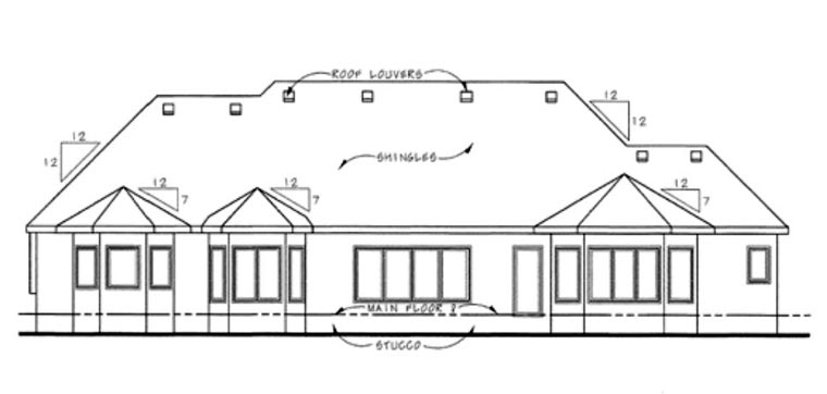European House Plan 66602 with 2 Beds, 3 Baths, 3 Car Garage Rear Elevation