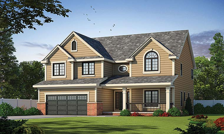 Traditional House Plan 66636 with 4 Beds, 3 Baths, 2 Car Garage Elevation