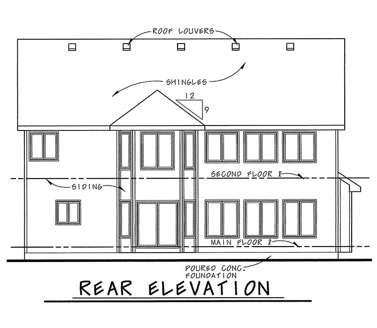 Traditional House Plan 66636 with 4 Beds, 3 Baths, 2 Car Garage Rear Elevation