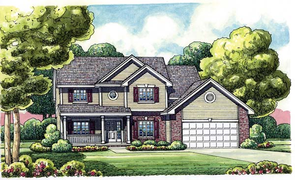 Traditional House Plan 66638 with 4 Beds, 3 Baths, 2 Car Garage Front Elevation