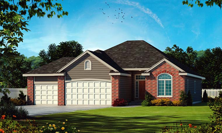 Traditional House Plan 66645 with 2 Beds, 2 Baths, 3 Car Garage Elevation