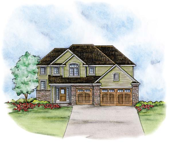 Traditional House Plan 66678 with 4 Beds, 3 Baths, 3 Car Garage Elevation