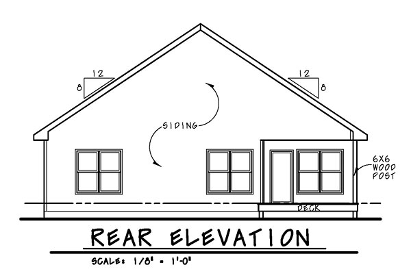 Cottage, Country, Craftsman House Plan 66734 with 2 Beds, 3 Baths, 2 Car Garage Rear Elevation