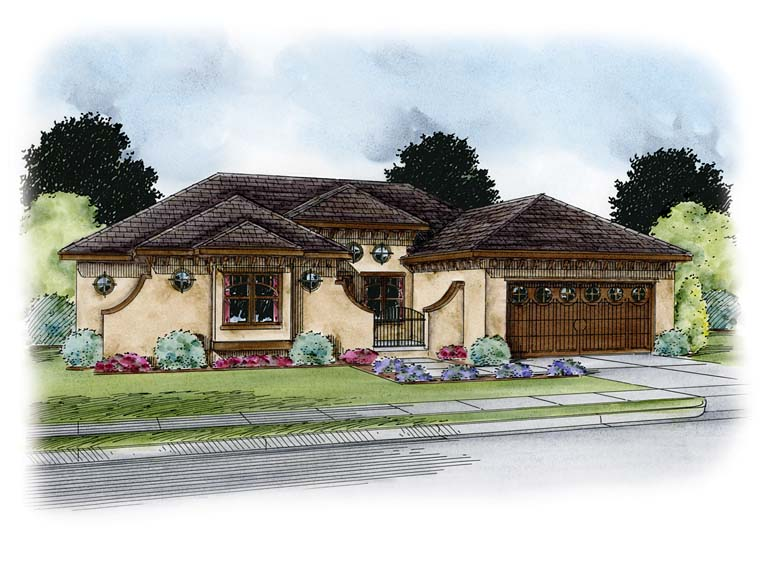 Italian, Southwest, Tuscan House Plan 66770 with 1 Beds, 3 Baths, 2 Car Garage Front Elevation