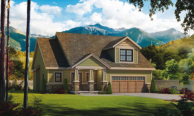 Bungalow, Cottage, Country, Craftsman House Plan 66794 with 3 Beds, 3 Baths, 2 Car Garage Elevation