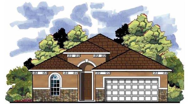 Contemporary, Florida, Mediterranean House Plan 66814 with 3 Beds, 2 Baths, 2 Car Garage Elevation