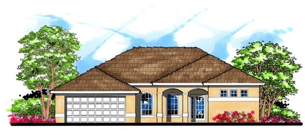 Contemporary, Florida, Mediterranean House Plan 66842 with 4 Beds, 3 Baths, 2 Car Garage Front Elevation