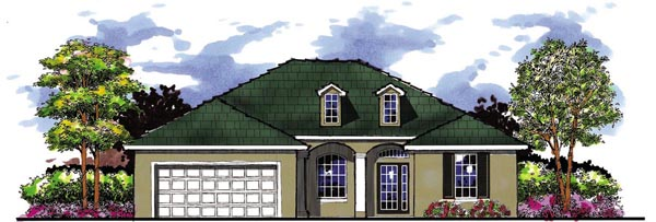 Country, Florida, Ranch House Plan 66848 with 4 Beds, 3 Baths, 2 Car Garage Front Elevation