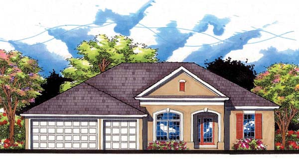 Florida, Ranch, Traditional House Plan 66855 with 4 Beds, 3 Baths, 3 Car Garage Elevation