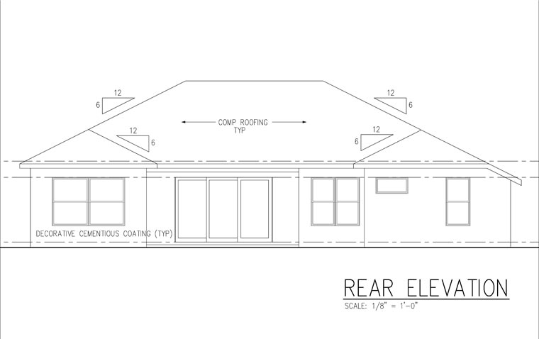 Florida, Ranch, Traditional House Plan 66855 with 4 Beds, 3 Baths, 3 Car Garage Rear Elevation