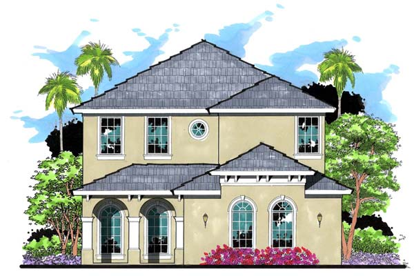 Florida, Mediterranean, Traditional House Plan 66875 with 4 Beds, 4 Baths, 2 Car Garage Elevation
