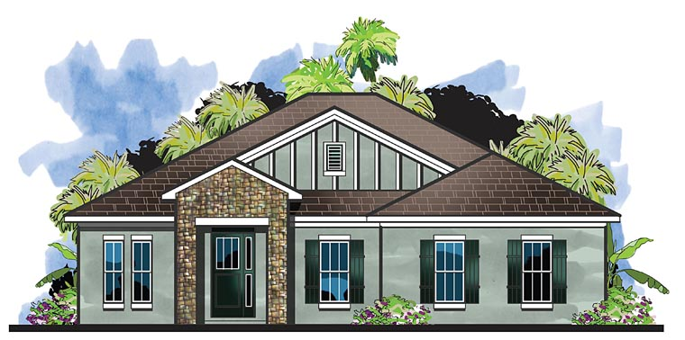 Cottage, Florida, Traditional House Plan 66924 with 4 Beds, 3 Baths, 2 Car Garage Front Elevation