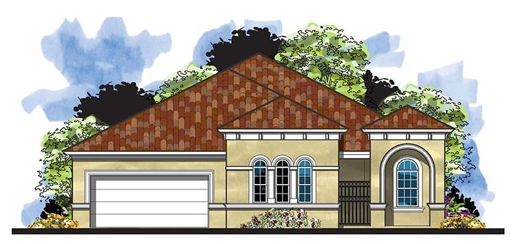 European, Florida, Mediterranean House Plan 66931 with 3 Beds, 3 Baths, 2 Car Garage Elevation