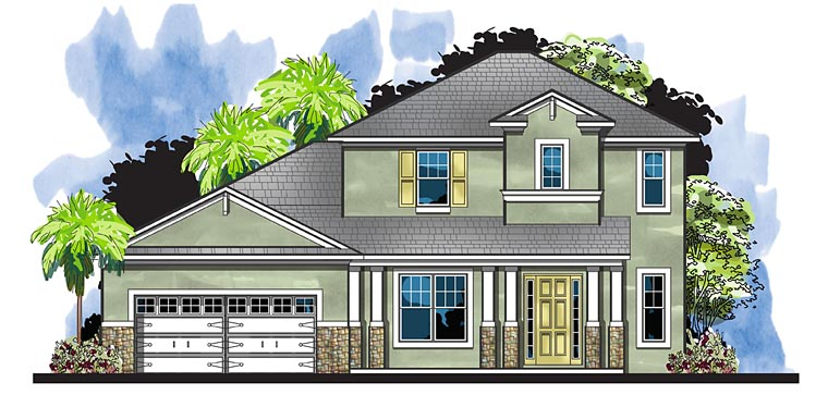 Colonial, European, Florida House Plan 66938 with 4 Beds, 4 Baths, 2 Car Garage Elevation