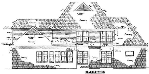 Colonial, Country, Southern House Plan 67039 with 4 Beds, 4 Baths, 2 Car Garage Rear Elevation