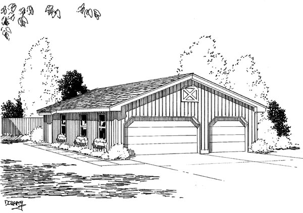 Narrow Lot, One-Story 6 Car Garage Plan 67201 Elevation