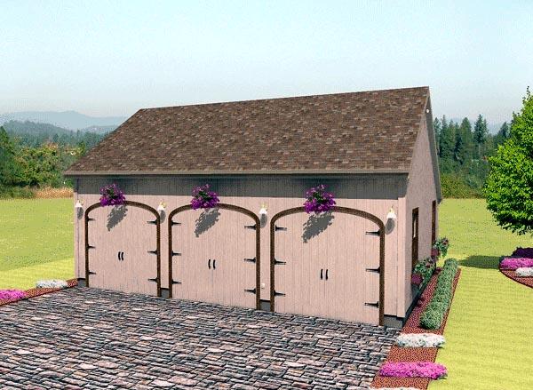 Narrow Lot, One-Story 3 Car Garage Plan 67206 Elevation
