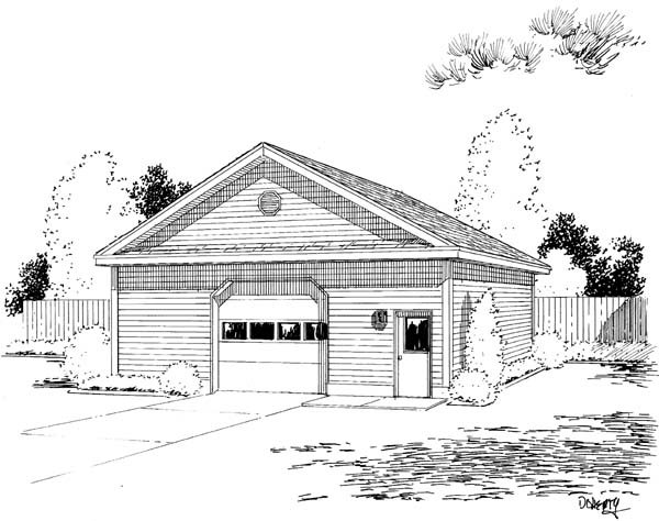 Narrow Lot, One-Story 6 Car Garage Plan 67214 Front Elevation