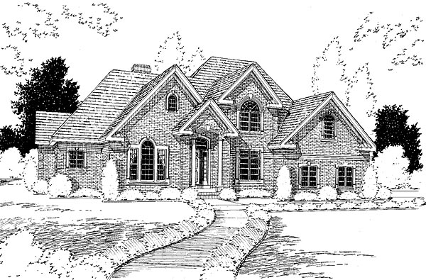 Traditional House Plan 67249 with 4 Beds, 3 Baths, 2 Car Garage Elevation