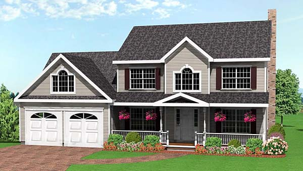 Farmhouse House Plan 67253 with 3 Beds, 3 Baths, 2 Car Garage Elevation