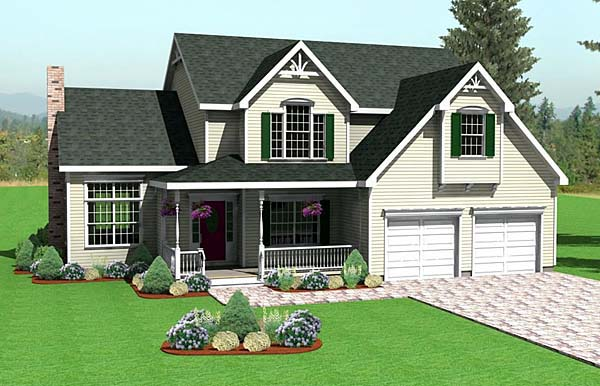 Farmhouse House Plan 67267 with 3 Beds, 3 Baths, 2 Car Garage Front Elevation
