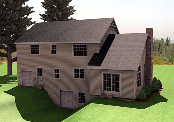 Farmhouse House Plan 67267 with 3 Beds, 3 Baths, 2 Car Garage Rear Elevation