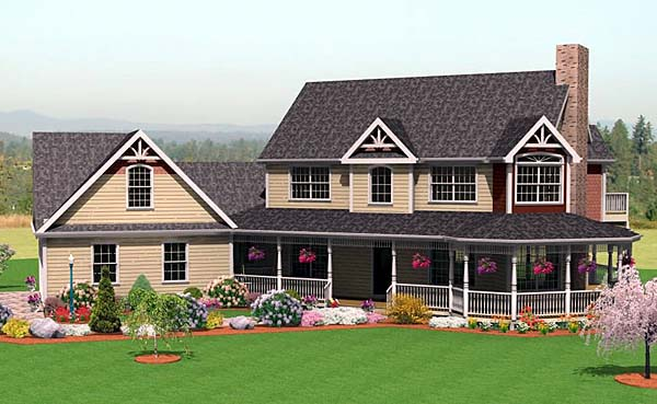 Farmhouse House Plan 67272 with 3 Beds, 3 Baths, 2 Car Garage Elevation