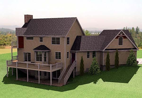 Farmhouse House Plan 67272 with 3 Beds, 3 Baths, 2 Car Garage Rear Elevation