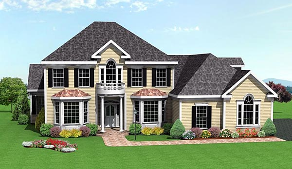 Colonial House Plan 67286 with 5 Beds, 4 Baths, 3 Car Garage Elevation
