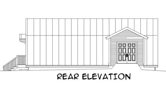 4 Car Garage Plan 67290 Rear Elevation