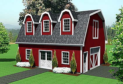 1 Car Garage Plan 67302 Elevation