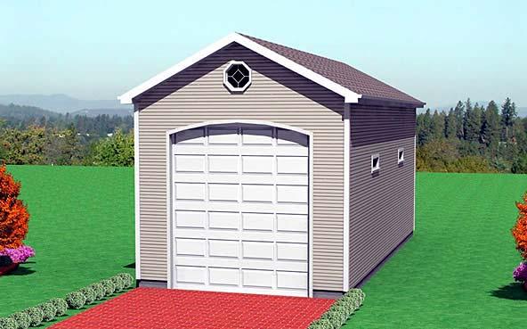 1 Car Garage Plan 67305 Elevation