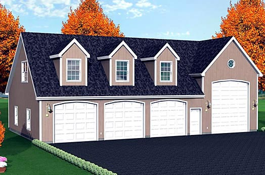 4 Car Garage Plan 67306, RV Storage Front Elevation