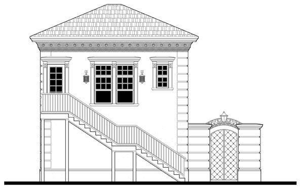 2 Car Garage Apartment Plan 67548 with 1 Beds, 1 Baths Rear Elevation