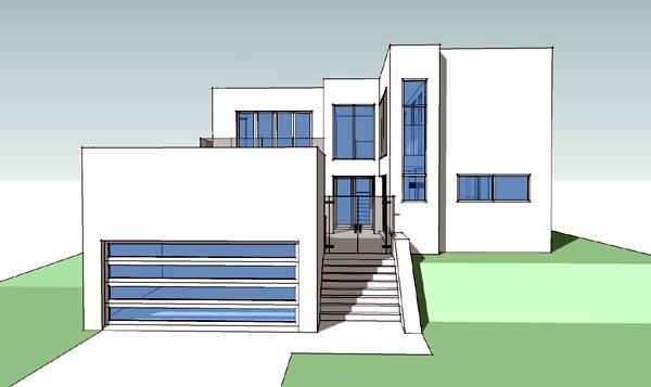 Coastal, Modern House Plan 67566 with 4 Beds, 3 Baths, 2 Car Garage Elevation