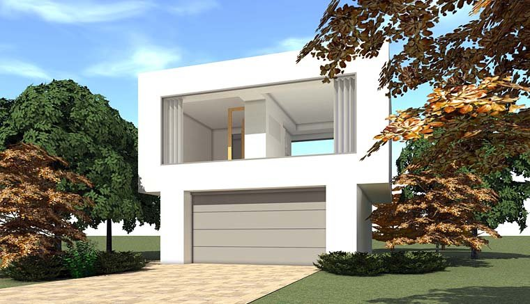 Contemporary 2 Car Garage Apartment Plan 67589 with 1 Beds, 1 Baths Elevation