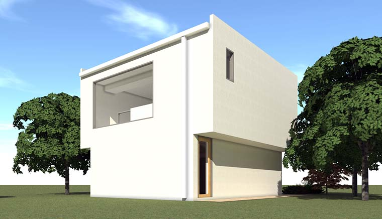 Contemporary 2 Car Garage Apartment Plan 67589 with 1 Beds, 1 Baths Rear Elevation