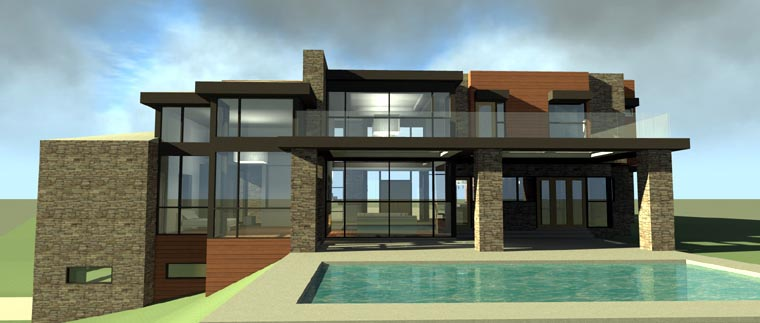 Contemporary, Modern House Plan 67596 with 5 Beds, 6 Baths, 3 Car Garage Rear Elevation